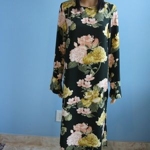 H&M Long Sleeve Green Floral Dress Size 10